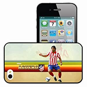 Personalized iPhone 4 4S Cell phone Case/Cover Skin KUN AGUERO Cristiano Ronaldo Football Black