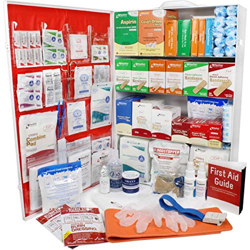 OSHA & ANSI 4 Shelf Industrial First Aid Cabinet with Pocket Liner, 150 Person, 1125 Pieces, 2015 Class B+, Types I & II, Made in USA by Urgent First AidTM with extra content & NEW ANSI First Aid Guide from Urgent First Aid