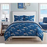 3 Piece Kids Blue Grey Shark Themed Comforter Full Queen Set, Fun All Over Playful Sharks Wearing Top Hat Bedding, Under Water Ocean Creature Pattern, Polyester, Gray