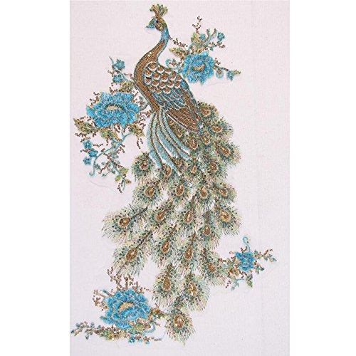Elegant Blue Sequins Peacock Phoenix Feather Mesh Embroidery Applique Decoration Cloth Patches Cheongsam Garment Accessories