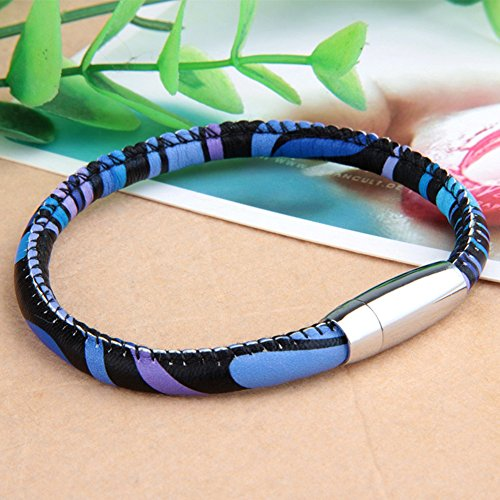 MULBA Hommes Vintage Cuir Bracelet Wristband Bracelet Sl3386 (Bleu)