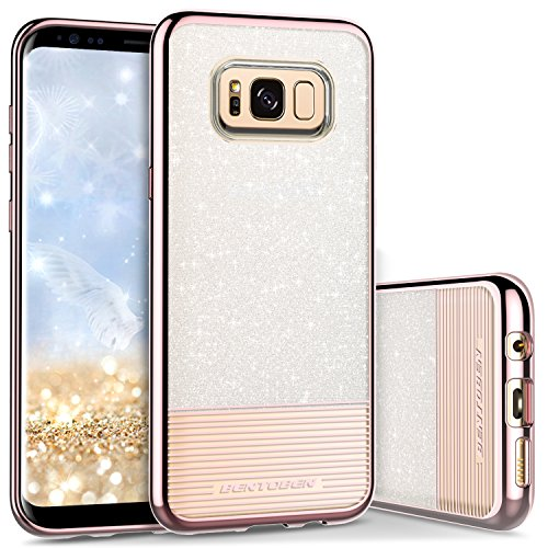 Galaxy S8 Case, Samsung Galaxy S8 Case, BENTOBEN Bling Glitter Chrome Stripe Design Hybrid TPU PC Dual Layer Shockproof Slim Protective Phone Case Cover for Samsung Galaxy S8 (5.8 Inch), Rose Gold