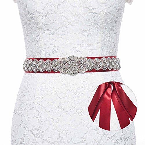 Burgundy Sash - Sisjuly Pearl Rhinestones Sash Beaded Belts for Wedding Party Ball Prom Evening Dress Burgundy