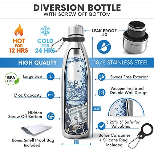 Diversion Safe Water Bottle | Stash Can Hidden Bottom for Valuables | 17ounce Liquid Capacity and Dry Storage Compartment | Stainless Steel Vacuum Insulated Leak Proof | BONUS Smell Proof Bag Included
