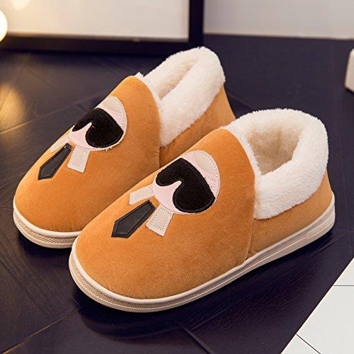 DogHaccd pantofole,Scarpe di cotone di donne caldo inverno soggiorno scarpe carine le coppie pacchetto radice pantofole di cotone felpato scarpe pantofole Donne Uomini,Giallo28