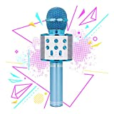 Gift for 6-10 Year Old Girl, Wireless Bluetooth Microphone for Kids Girls Party Toy for 4-7 Year Old Girl Boys Karaoke Microphone Toy Age 6 7 8 Girls Birthday Gift for Girl Blue Mic