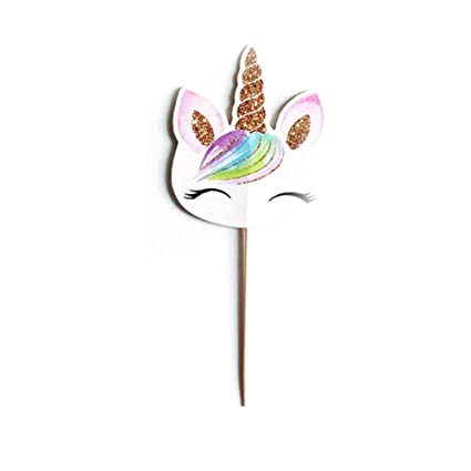 Ouken Lindo Unicornio Forma Pastel Topper Cupcake envolturas Pastel decoración Tarjeta para Baby Shower niños Fiesta