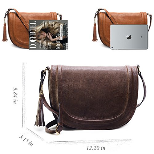 for Shoulder Bags Women Crossbody Saddle Bags Taupe Tassel Eq61wXFw
