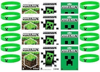 Minecraft Party Bag Fillers with 12 Official Minecraft Creeper Wristbands and 12 Official Mine Craft (Party Minecraft)