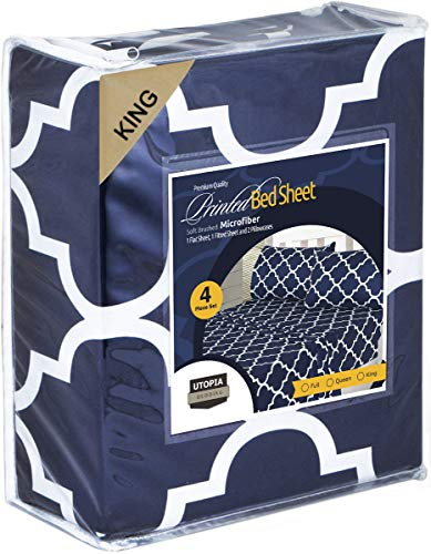 Utopia Bedding 4PC Bed Sheet Set 1 Flat Sheet, 1 Fitted Sheet, and 2 Pillowcases (King, Navy)