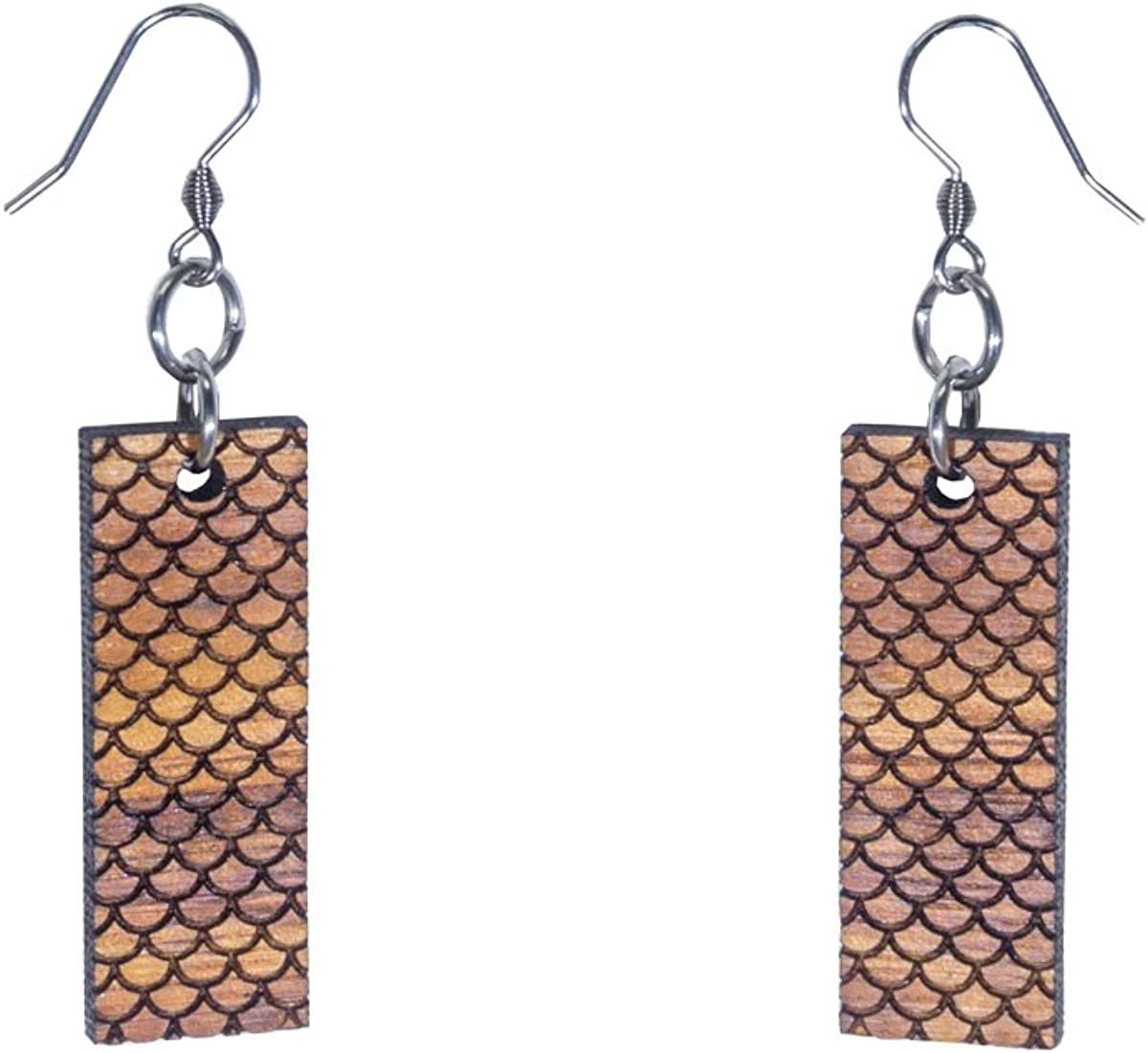 Mermaid Scales Koa Wood Dangle Earrings