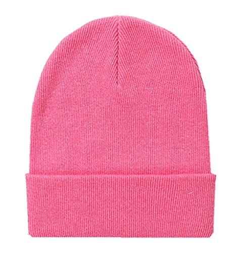 Home Prefer Classic Soft Warm Knitted Hat for Infant Baby Boys Girls Skull Beanies Deep Pink, S