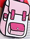 Nuobo 3D Drawing Paper Backpack School Bag Comic Vintage Backpack Laptop Bag for Teenagers (Pink)