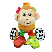 Infant Baby Soft Animal Vibrating Car Seat Stroller Plush Toys Hanging Bell Rattles Doll (Monkey)