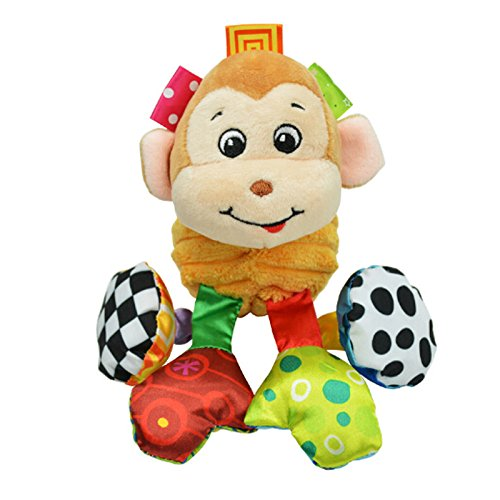 Infant Baby Soft Animal Vibrating Car Seat Stroller Plush Toys Hanging Bell Rattles Doll - Monkey