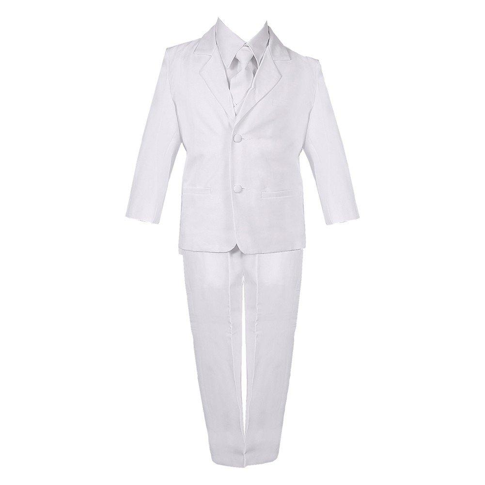 Big Boys White 5 Piece Classic Vest Jacket Pants Special Occasion Suit 8-20 Rafael Collection