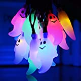Halloween Ghost Solar Lights,Solar Powered Waterproof 20 LED String Lights for Holiday Party Decoration,Halloween Decoration(Ghost,Multicolor)