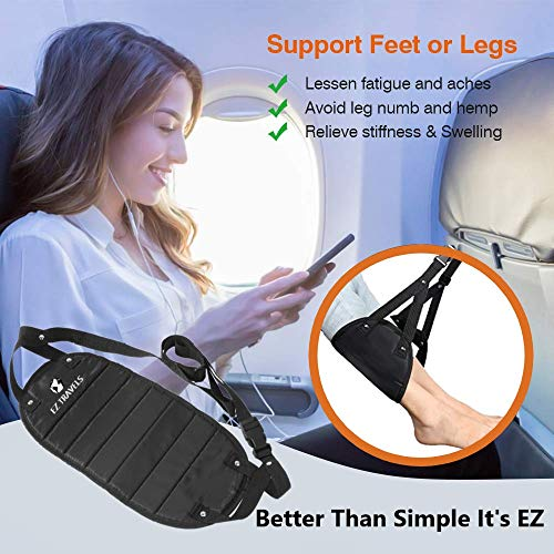 EZ Travels Footrest Hammock | Perfect Adjustable for Under Desk,Travel,Airplane, Car,Office, Kids,Chair Ottoman with Foot Rest for Gaming, Soft Cushion by EZ Travels (Image #5)