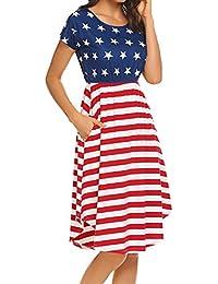 Women's Summer Casual Stripe Elastic Waist Loose Beach...
