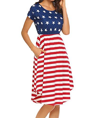 Halife Women's Summer Casual Stripe Elastic Waist Loose Beach Midi Dress (S, Star) ()