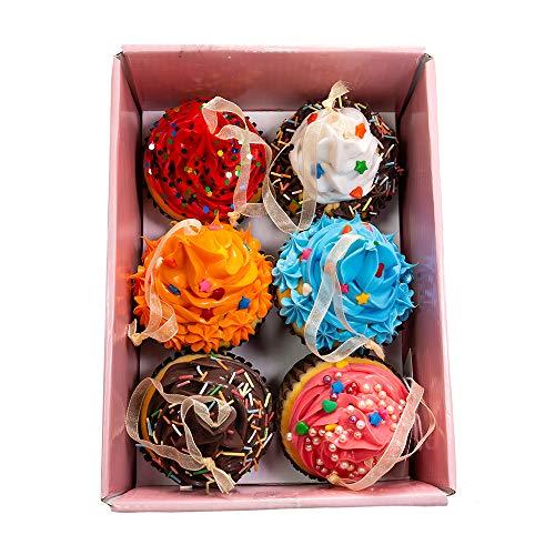 Kurt Adler Set of Six 2.75-Inch Foam Cupcake Ornaments