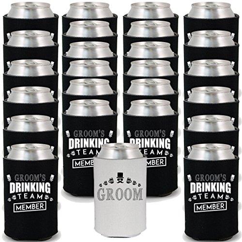 Shop4Ever Groom and Groom's Drinking Team 'Member' Can Coolie Wedding Drink Coolers Coolies (Member, Blk, 24 Pk)