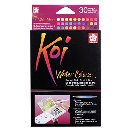 30 Color Set (Sakura XNCW-30N Koi Field 30 Assorted Watercolors with Brush Sketch)