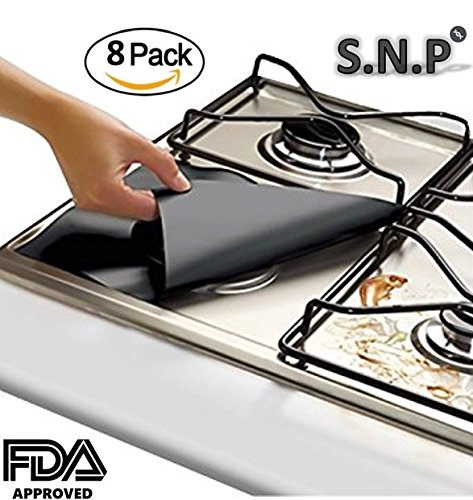 "Gas range protectors, Stove Burner Covers 0.2 mm, Non-Stick Stove Top Burner Protectors, FDA Approved, Set of 8, Black (10.6"" x 10.6"")"