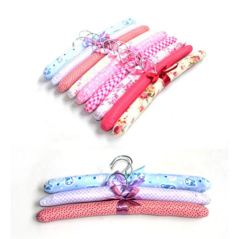 Wed2BB 10PCS of Floral Cotton Padded Hangers Soft Cloth Hanger-Random Delivery (Padded Hanger)