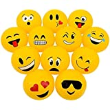 """Emoji Inflatable Beach Balls 12"""" – Pack Of 12 - For Pool, Toys, Birthday Party, Prize, Party Favor – By Kidsco"""