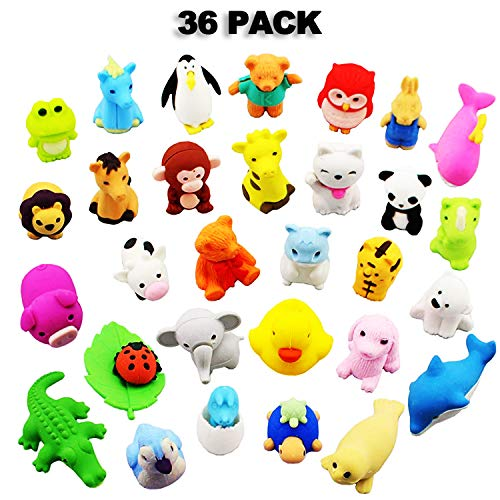 Libershine Pencil Erasers, 36 pcs Animal Pencil Erasers, Erasers Zoo, Zoo Erasers Puzzle Erasers for Party Favors, Games Prizes, Carnivals and School Supplies Animal Party Favors for $<!--$9.99-->
