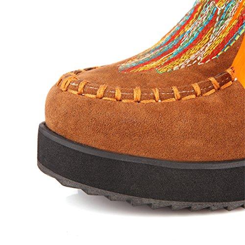 YE Damen Wedge Keilabsatz Plateau Wildleder Schnür Stiefeletten mit Fransen 5CM Heels Gestickte Feder Dicke Sohle Indian Style Herbst Winter Schuhe Hellbraun