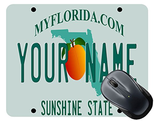 BleuReign(TM) Personalized Custom Name Florida State License Plate Square Mouse Pad
