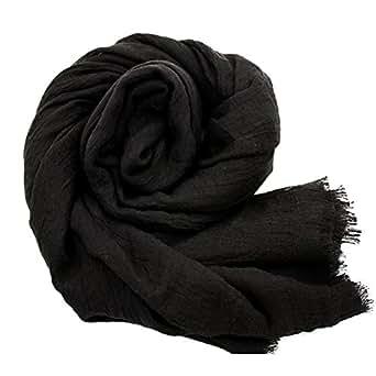YOBOKO Womens Fashion Long Scarf Linen-Cotton Pure Color Big Size Soft Scarves Shawl (Black)