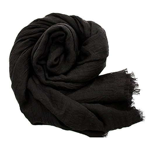 YOBOKO Womens Fashion Long Scarf Linen-Cotton Pure Color Big Size Soft Scarves Shawl (Black Linen Scarf)