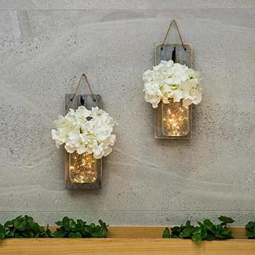 HABOM Mason Jar Sconce Wall Art Home Decor - Lighted Rustic Country Farmhouse Nightlight Decorations, Decorative Vase Accents for Kitchen, Bathroom, Bedroom, Venue, Office