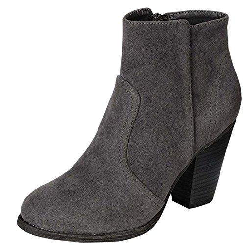 [Breckelles Heather-34W Faux Suede Chunky Heel Synthetic Ankle Boots For Women, Grey Suede (7.5)] (Jackie Nurse Shoes)