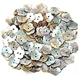 Sungpunet 100 x Mother-of-Pearl Flower-Shaped Buttons, 15 mm