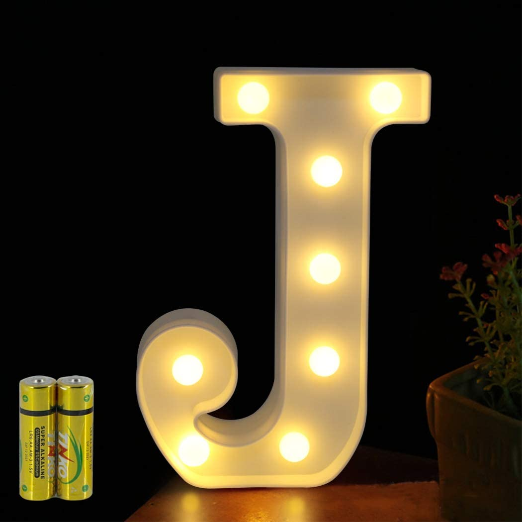 FUNRUI LED Marquee Letter Lights Sign 26 Alphabet Light Up Marquee Letters Lamp Sign for Bedroom Night Light Wedding Birthday Party Festival Valentine Battery Powered Home Bar Decoration (J)