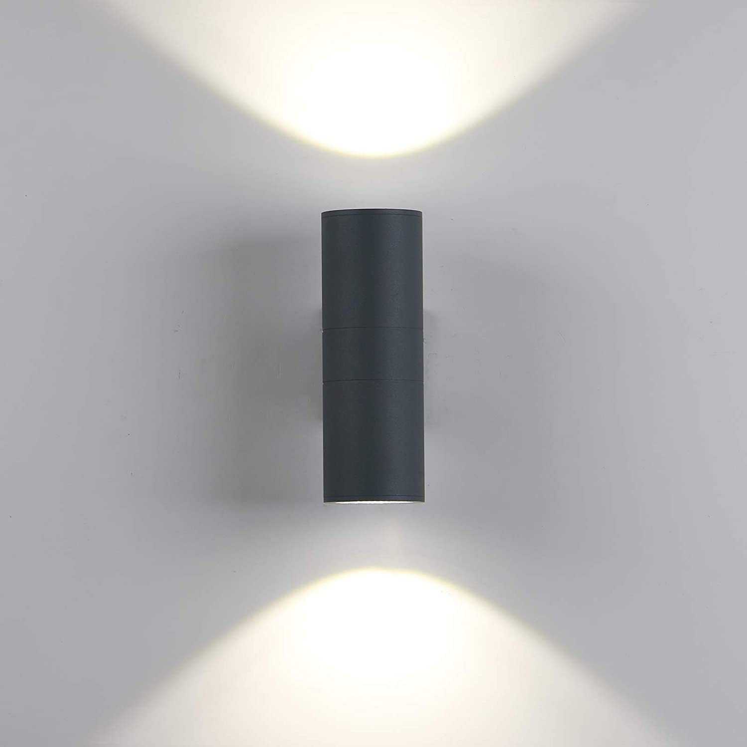 3000K Yosoan Modern Black Double Up Down Outdoor Stainless Steel Wall Light,IP65 LED Wall Lamp