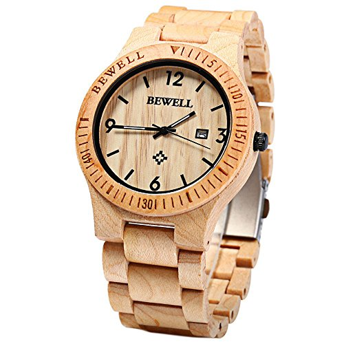 Handmade Solid Wooden Wrist Watch, CEStore® BEWELL Unique Wood Design Natural Maple Wood Super Light Japanese Quartz Movement Watch with Date Calendar Display for Men and Women - Uts Watches Men