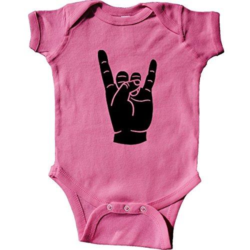 inktastic Rocker Horns Infant Creeper Newborn Raspberry (Heavy Metal Clothing)