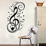 "ColorfulHall 23.6"" X 47.2"" Black Removable Wall Sticker Large Music Notes Wall Decals Mural DIY Vinyl Wall Sticker Wall Art Room Home."