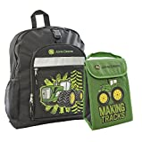 John Deere Black Burst Backpack and Tractor Lunch Bag Set