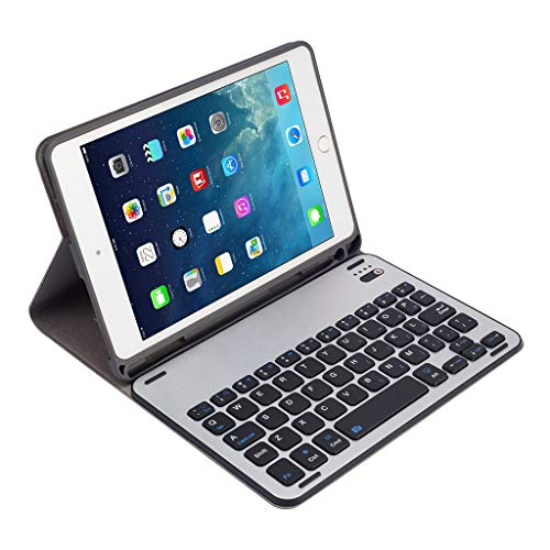 Kybers Folding Keyboard Case Compatible with IPad Mini 5/4 - Slim Protective Cover Aluminum Alloy Detachable Bluetooth Keyboard Case with Pen Slot for IPad Mini 5/4