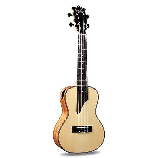Miiliedy Personalidad Creativo Agujero de sonido Ukulele 23 pulgadas Principiante Adultos Autoestudio Práctica Mini Nylon Guitarra de cuatro cuerdas con ...
