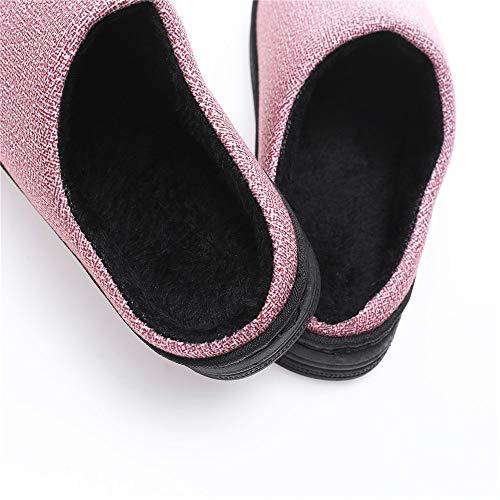 Faux Hommes Pantoufles Femme Anti Poids Kemosen Rose Chaussons Fourrure Chaussures Hiver Léger Slipper Peluche Slip Intérieur w0xnfg