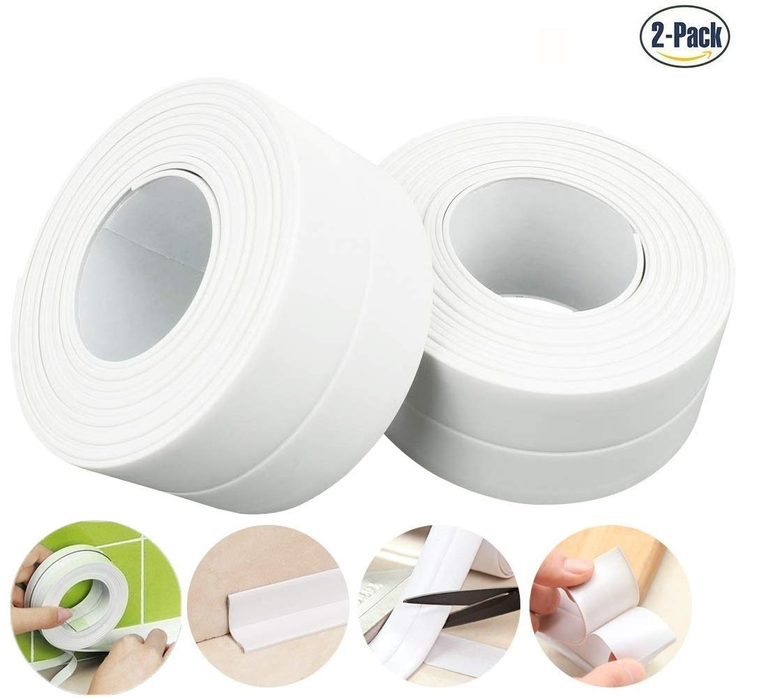 Caulk Strip Waterproof Caulking Tape White, PVC Self Adhesive Caulk Tape for Bathtub Kitchen Bathroom Shower Toilet Wall Floor Corner 1-1/2'' x 11'(2, White) by Ourworld