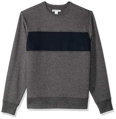 - Amazon Essentials Men's Crewneck Fleece Chest Stripe Sweatshirt, Charcoal Heather/Navy, Small