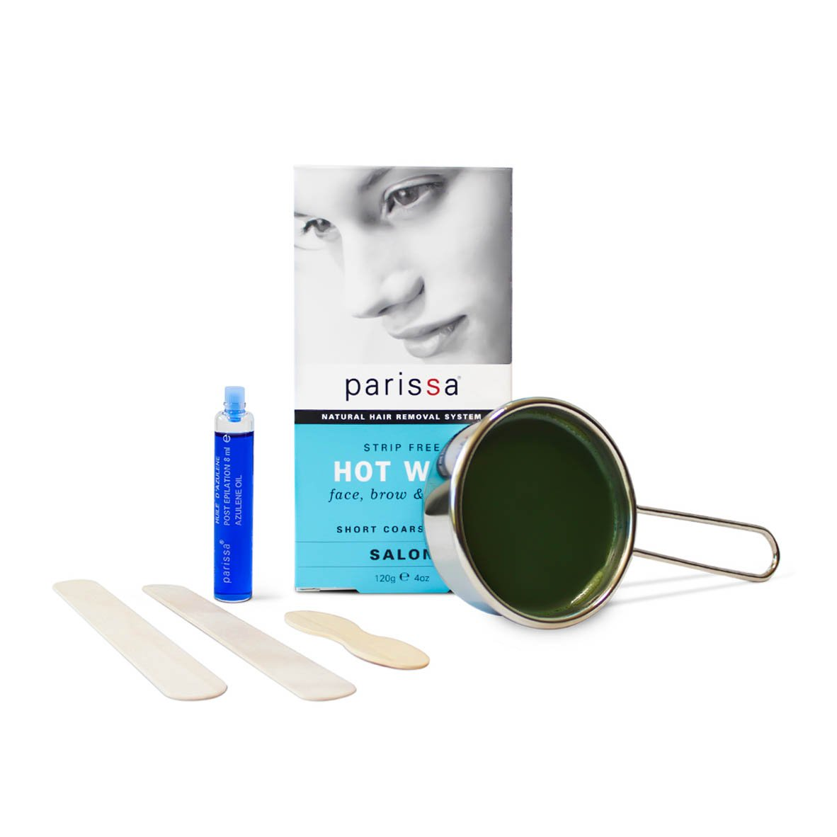 Parissa Hot Wax, Bikini & Brazilian Waxing Kit with Strip Free Hard Wax, 4oz. (120g) Wax, 3 Spatulas, Aftercare Oil